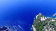 Flight over Paleokastritsa bay ocean sea coast blue water. Greece Corfu 4k video Stock Footage