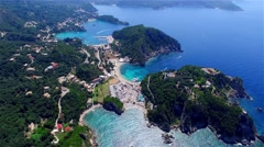 Flight over Paleokastritsa bay Greece Corfu aerial 4k video. Ocean sea coast Stock Footage