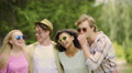 Happy best friends singing songs and dancing at open-air concert, youthfulness Footage