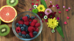 4k Colourful Composition of Fresh Berries - Wooden Background Stock Footage