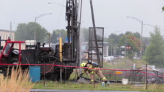 Major gas leak after ground drilling Stock Footage
