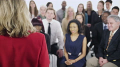 4K Diverse group of business people attend a business seminar Stock Footage