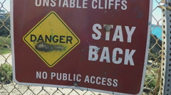 Unstable Cliffs Warning Sign- Torrey Pines California Stock Footage