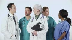 4K Portrait of diverse medical team isolated on white in studio shot Stock Footage