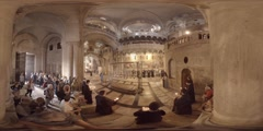 Church of the Holy Sepulchre: Mass at the Stone of the Anointing 360 video VR Stock Footage