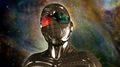 Face of armored futuristic masked warrior in space Stock Footage