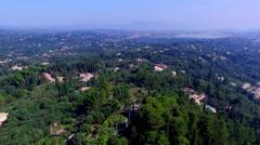 Flying aerial Corfu village countryside Greece 4k video high speed Villas houses Stock Footage
