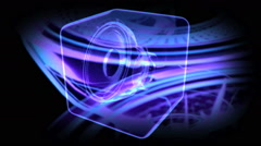 Vj musical motion footage - neon speakers. 3D render Stock Footage