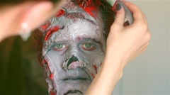 Make up making monster zombie Stock Footage
