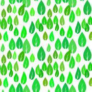 Summer Green Different Leaves Seamless Pattern Stock Illustration