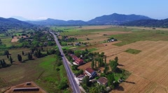 Countryside aerial landscape 4k video. Greece ECO village fields farm Stock Footage