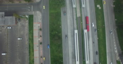 Bird's Eye View of cars passing on Avenida El Dorado in Bogota Stock Footage