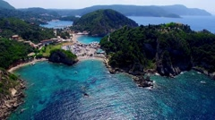 Flight aerial Paleokastritsa bay ocean sea coast water. Greece Corfu 4k video. Stock Footage