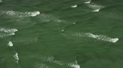 Aerial Orbit of Gulf of Mexico Green Blue Water Ocean Waves Stock Footage