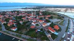 Old town Nin in Croatia from aerial view 4K Stock Footage