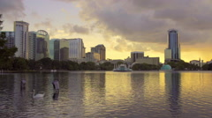 Sunset in Downtown orlando, Florida, Lake view Stock Footage
