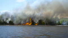 Blowing smoke wafts in front of shoreline forest fire wide shot Stock Footage