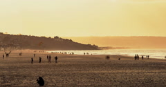 Deauville, France, Timelapse  - The Beach at Sunset Stock Footage