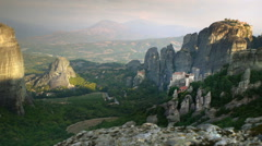 Panoramic view at meteora valley with monasteries on top of the cliffs, Greece Stock Footage