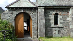 Small English church built of stones Stock Footage