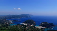 Flight aerial Paleokastritsa bay Greece Corfu 4k video. Ocean sea coast water Stock Footage