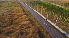 Person walk alone on wooden pier over dry lawn 4K Stock Footage