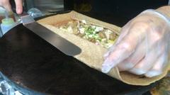 Chef hands prepares crepe Stock Footage