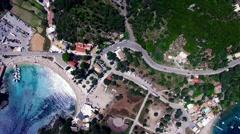 Flight aerial Paleokastritsa bay Greece Corfu 4k video. Ocean sea coast beach Stock Footage