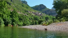 Boat Trip On Tarn River Gorges And Canyon In France Stock Footage