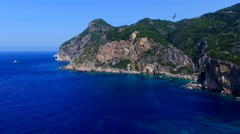 Flight ocean sea Greece Corfu cliff rocky coast bay HD video background Stock Footage
