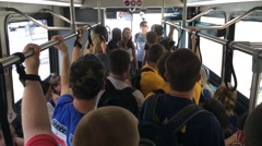 College students jam packed into bus Stock Footage