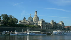 Dresden - Scenic summer view of the Old Town with Elbe river in Saxony, Germany Stock Footage