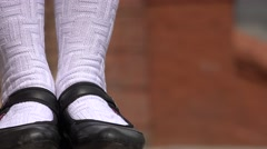 Female Wearing Black Shoes And White Socks Stock Footage