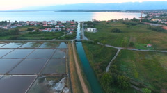 River running in to big sea aerial view 4K Stock Footage
