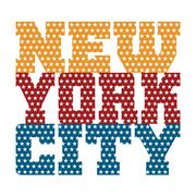 T shirt typography New York blue red orange stars Stock Illustration