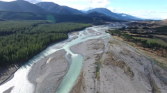 Aerial view of the Wairau river in Malborough, New Zealand Stock Footage