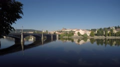 Prague. The Vitava river ant its bridges Stock Footage