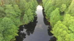Top view of drone on forest lake with smooth black surface Stock Footage