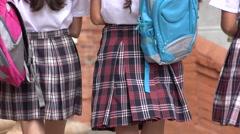 School Girls Walking With Backpacks Stock Footage