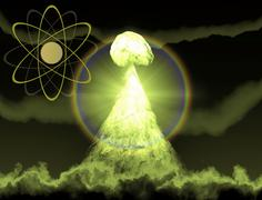 Nuclear explosion with symbol of atomic energy 3d rendering Stock Illustration