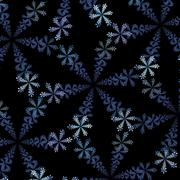 Fractal abstraction, ornamentation of snowflakes on a black background Stock Illustration