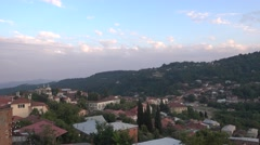 A panoramic view into the valley and the old church of Sighnaghi Stock Footage