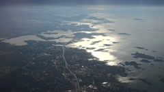 Highway 51 going to Helsinki over the sea at sunrise, aerial view Stock Footage