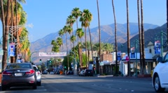 Palm Springs, California/USA Busy traffic on Palm Canyon Dr . Stock Footage