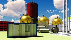Building construction of nuclear plant 3d rendering Stock Illustration