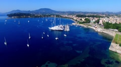 Corfu Marina harbor yacht boat Greece aerial 4k video. Garitsa Bay sea coast Stock Footage
