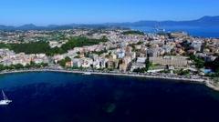 Corfu island Kerkyra coast harbor bay coastline 4k aerial video. Sea, ocean Stock Footage