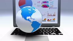 4k rotate earth model on the laptop,finance pie charts & stock trend diagrams. Stock Footage