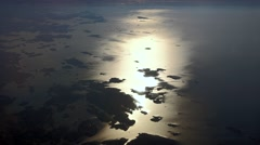 Sunrise over Finland with small islands in the Baltic sea, aerial view Stock Footage