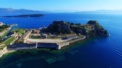 Old Fortress Kerkyra Corfu castle island Greece aerial 4k video. Sea ocean coast Stock Footage